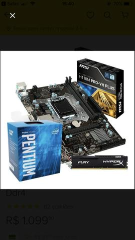 Kit Processador g4560 e placa mãe h110m plus