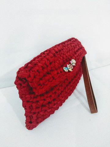 Bolsa carteira clutch em fio de malha alça de couro - Foto 2