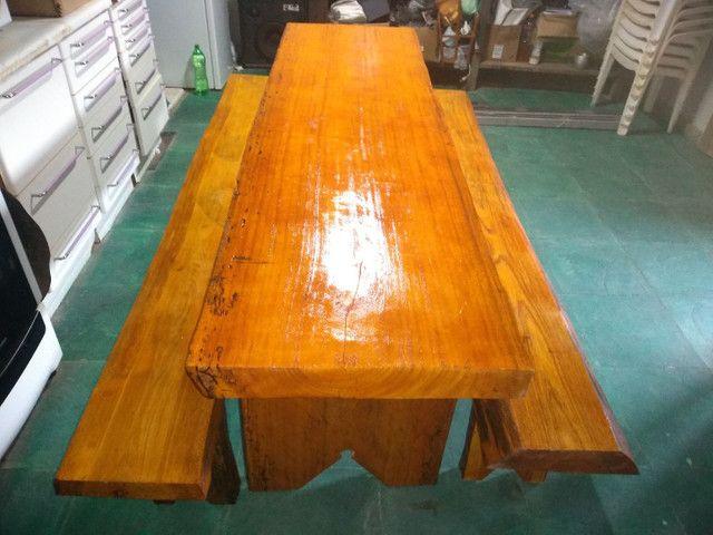 Mesa rústica de madeira  - Foto 3