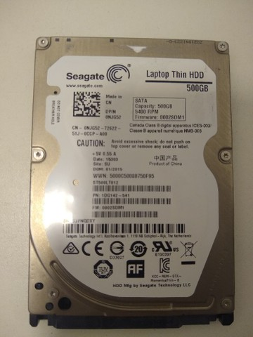 Vendo HD 500GB Seagate para notebook