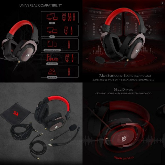 Headset Gamer Redragon Zeus H510, 7.1 Som Surround, Drivers 53mm, Preto/Vermelho - H510-1
