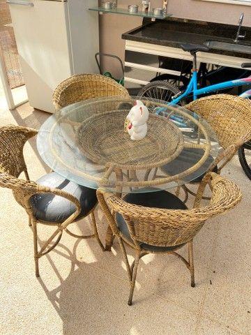 Mesa Rattan redonda 4 lugares + 4 cadeiras - Foto 2