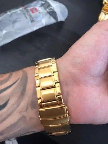 Relógio Masculino Naviforce Aviador 9093 Dourado Original a Prova D´agua - Foto 4