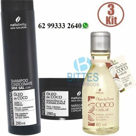 3 Kits Para Cabelos muitos Ressecados Rico em Antioxidantes e Ácidos Graxos Óleo de Coco N