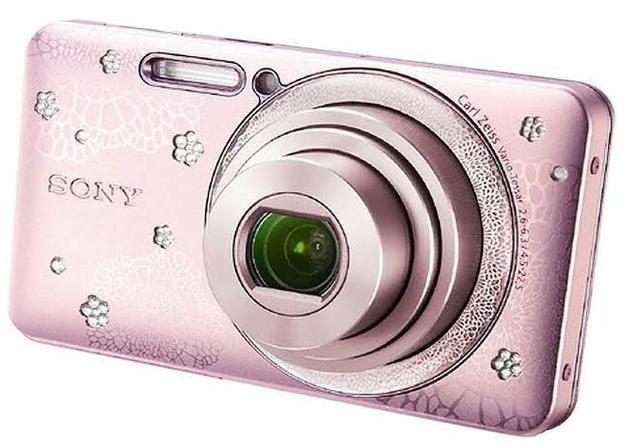 Câmera rosa com strass