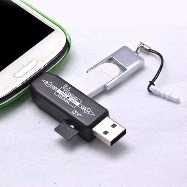 Otg Smart Card Reader 2.0 Hub para USB e Micro SD - Foto 3