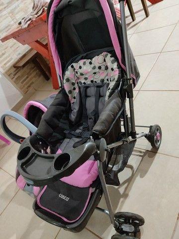 Carrinho de bebê c/ bebê conforto cosco - Foto 4