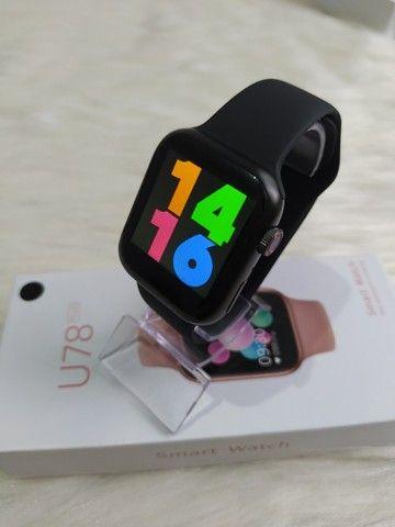 Smartwatch U78 Plus Tela infinita, Coloca Foto e Botão Rotativo