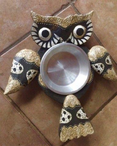 Petisqueira coruja madeira prato inox - Foto 3