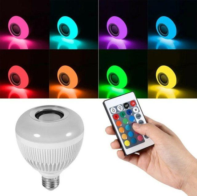 Lampada De Led Bluetooth Rgb 16 Cores Music Controle Remoto  - Foto 2
