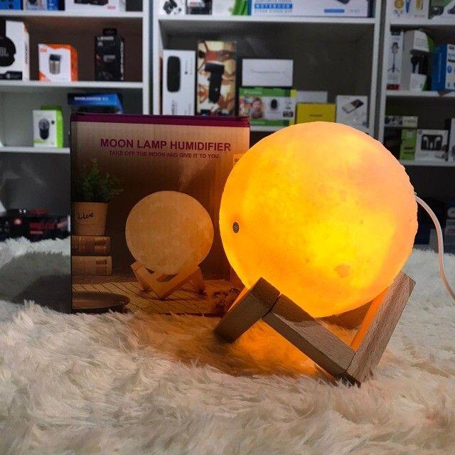 Difusor Umidificador 880ml Luminária 13cm Abajur Lua 3D - Foto 2