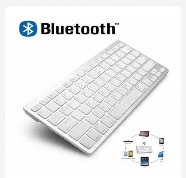 Teclado Sem Fio Bluetooth Universal P/ PC Android e IOS - Foto 4