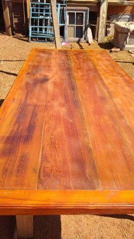 Mesa mais bancos madeira demolição peroba rosa a pronta  - Foto 4