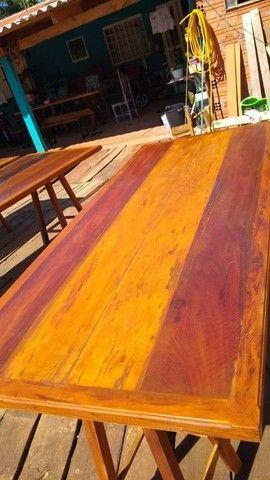 Mesa mais bancos madeira demolição peroba rosa a pronta  - Foto 3