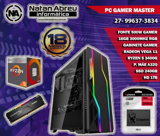 PC Gamer AMD Ryzen 5 3400G + 16gb Dual Channel + SSD + HD + Vega 11 - Loja Natan Abreu