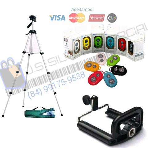 Celular e câmera kit( Tripé 1m30cm + Suporte p/cell + controle Bluetooth + Bolsa )