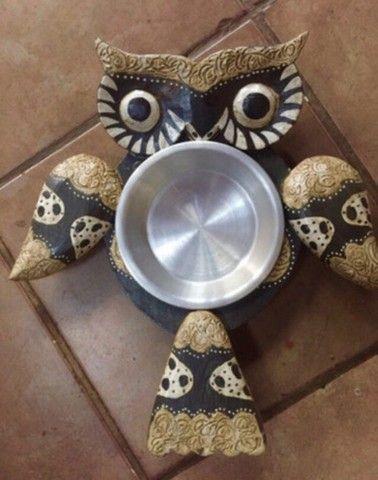 Petisqueira coruja madeira prato inox - Foto 2
