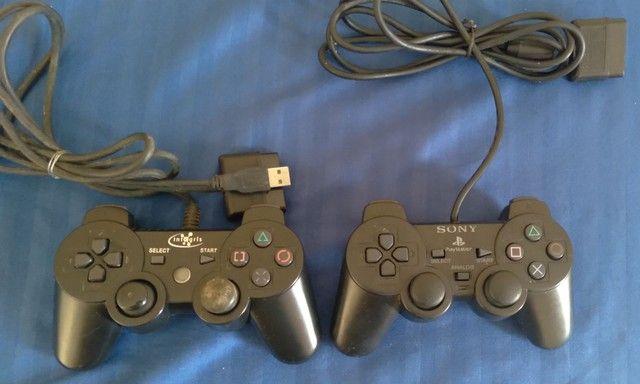 Par de controle ps2 Sony outro paralelo com defeitos