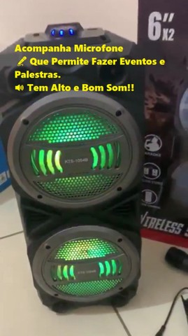 Caixa Bluetooth, Rádio FM (1000w) KTS 1054 Wireless Frete Grátis!
