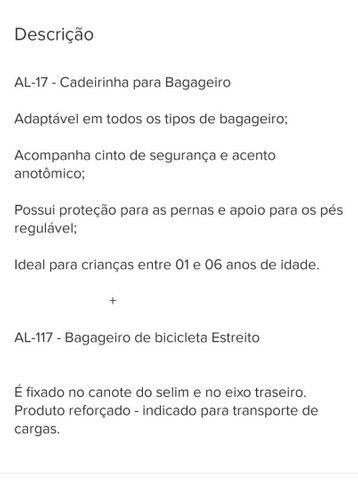 Cadeirinha Bike + Bagageiro - Crianças 01 à 06 Anos  - Foto 4