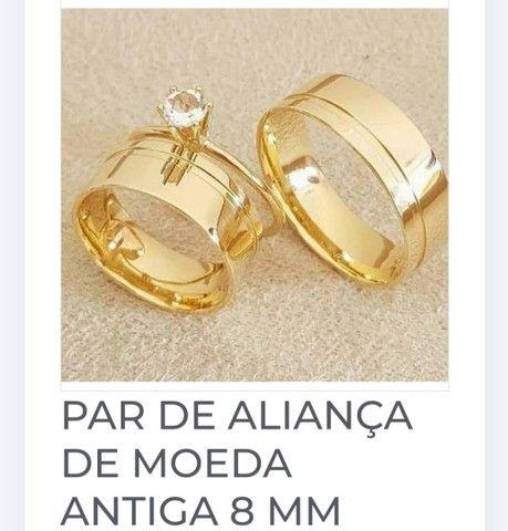 PAR DE ALIANÇA DE MOEDA ANTIGA 8 MM<br><br>