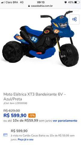 Moto elétrica XT3 Bandeirantes 6v - Azul e Preta - Foto 5