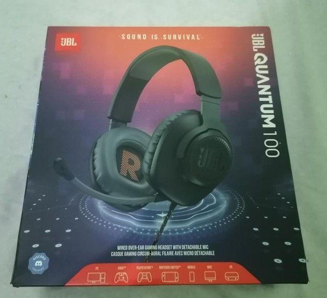 Fone de Ouvido Headset Gamer JBL Quantum 100 Com Microfone Removível e Foco na Voz