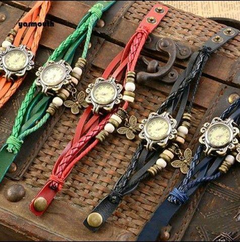 Relógio De Pulso Feminino Multicamadas Vintage