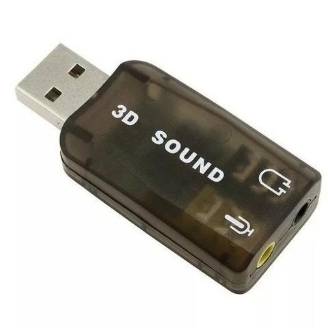 Placa De Som USB 5.1 Canais Note book PC 3d Adaptador Áudio