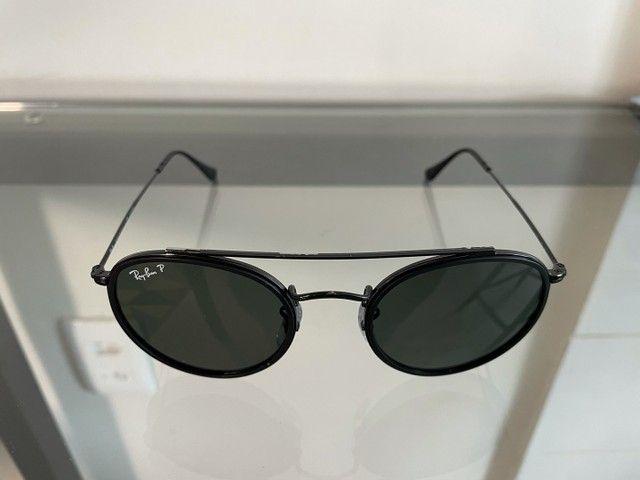 Óculos Rayban ROUND DOUBLE BRIDGE polarizado usado - Foto 4