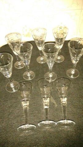 10 taças de licor antigas de cristal lapidado - Foto 2