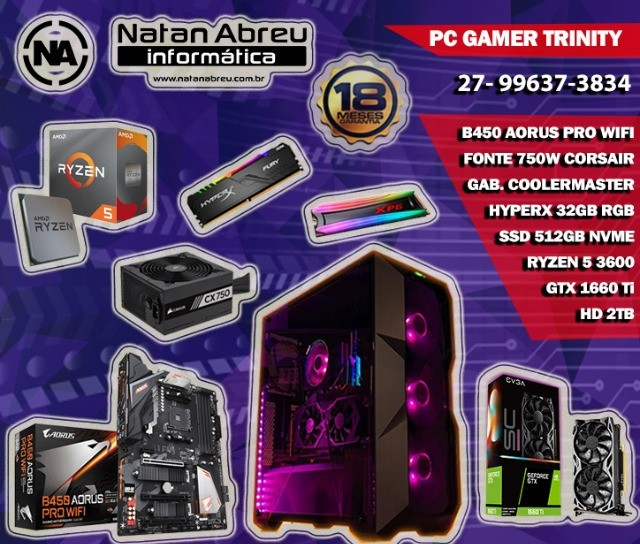 PC Gamer AMD Ryzen 5 3600 + GTX 1660 Ti + 32GB HyperX + SSD Nvme + HD - Loja Natan Abreu