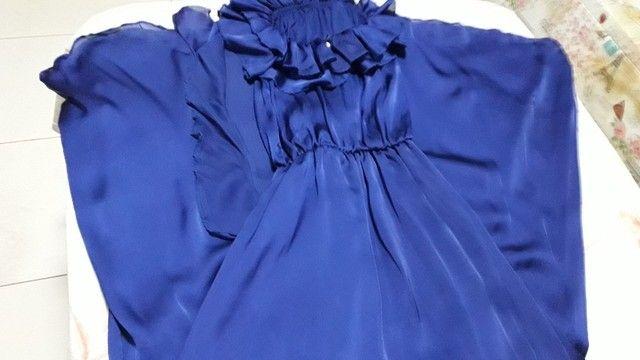 Vestido azul marinho em musseline  - Foto 2