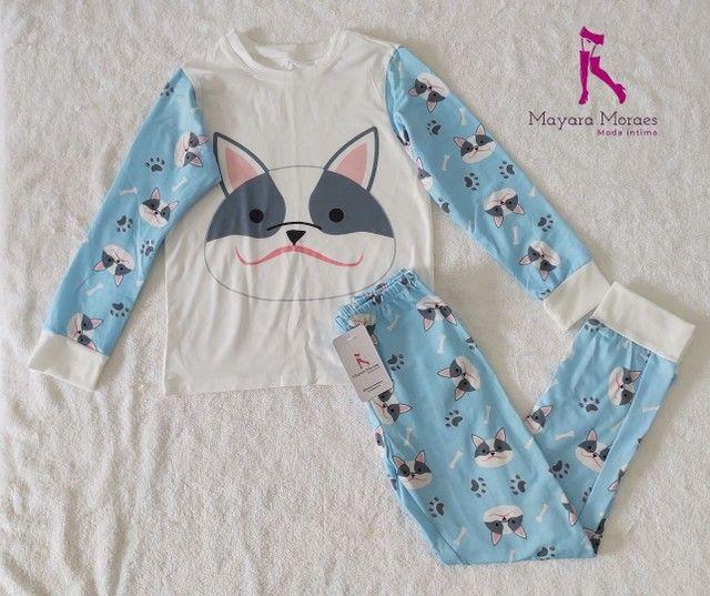 Pijamas infantis feminino manga longa - Foto 2