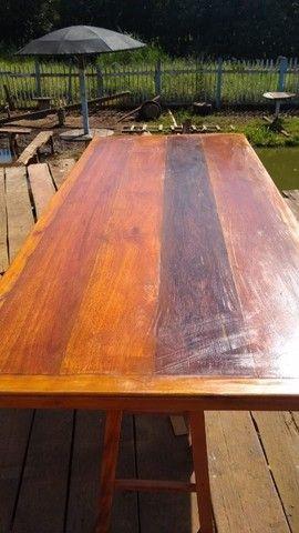 Mesa mais bancos madeira demolição peroba rosa a pronta  - Foto 2