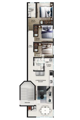 Apartamento à venda com 3 dormitórios em Balneário ponta do papagaio, Palhoça cod:2369 - Foto 2