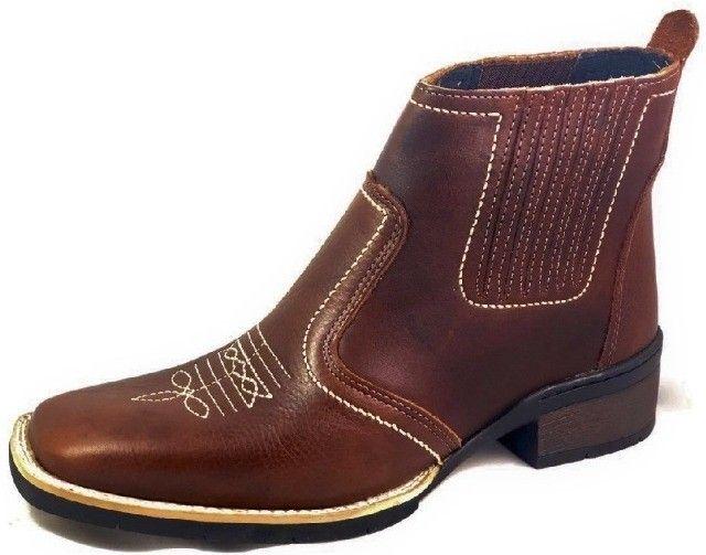 bota country texana botina bico quadrado