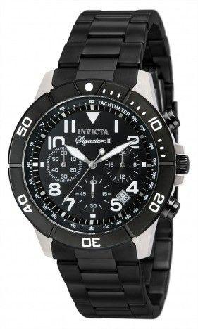 Relógio masculino com mostrador preto Signature II Chronograph 7351