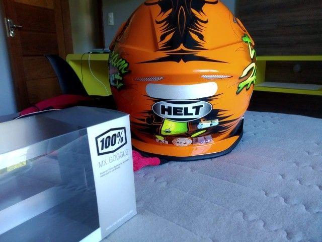 Capacete de Motocross Helt e Óculos da 100% - Foto 4