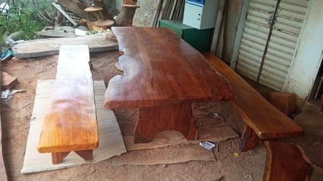 Mesa com bancos tipo rustica - Foto 2