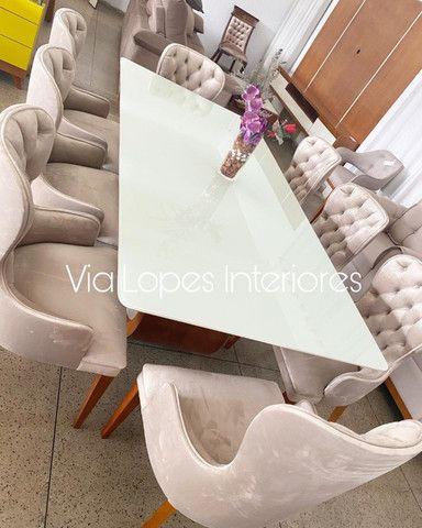 Mesa de 1.90 ctm com oito cadeiras area estofadas aqui no Via Lopes wpp 62 9  *