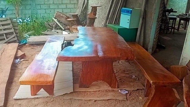 Mesa com bancos tipo rustica - Foto 3