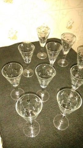 10 taças de licor antigas de cristal lapidado