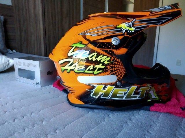Capacete de Motocross Helt e Óculos da 100% - Foto 3