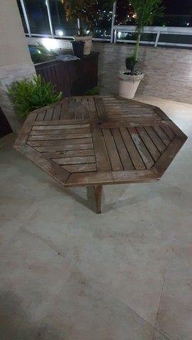 Mesa sextava madeira para jardim - Foto 4