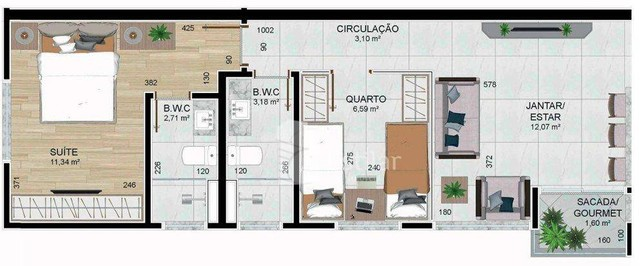 Apartamento 02 quartos (01 suíte) no São Pedro, São José dos Pinhais - Foto 6