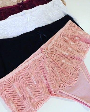 calcinha plus size pala larga detalhe renda cintura alta lingerie atacado - Foto 2