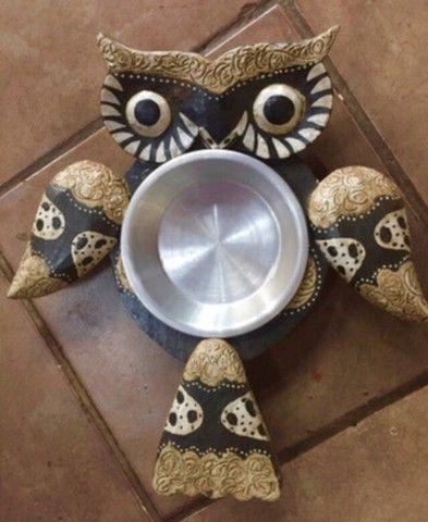 Petisqueira coruja madeira prato inox - Foto 6