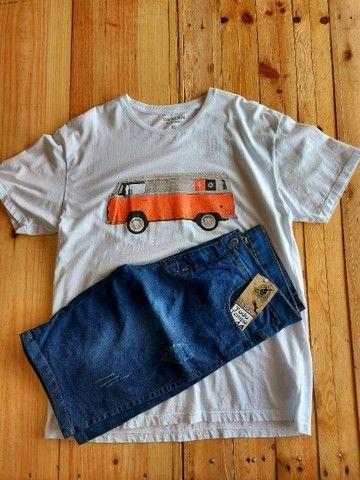 Combo Bermuda Jeans mais Camiseta Osklen