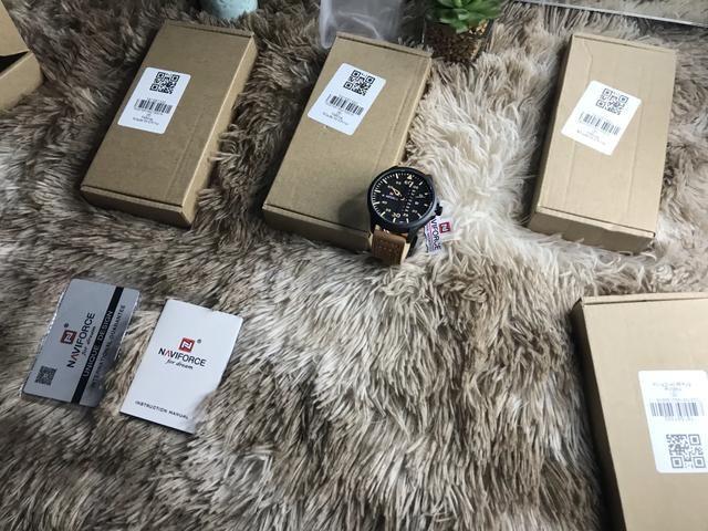 Para zerar estoque relógio Naviforce sport pulseira couro original - Foto 4